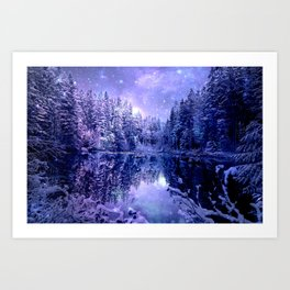 Lavender Winter Wonderland : A Cold Winter's Night Art Print