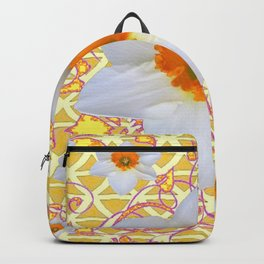 WHITE DAFFODILS DELICATE VIOLET SCROLLS ART  PATTERN Backpack