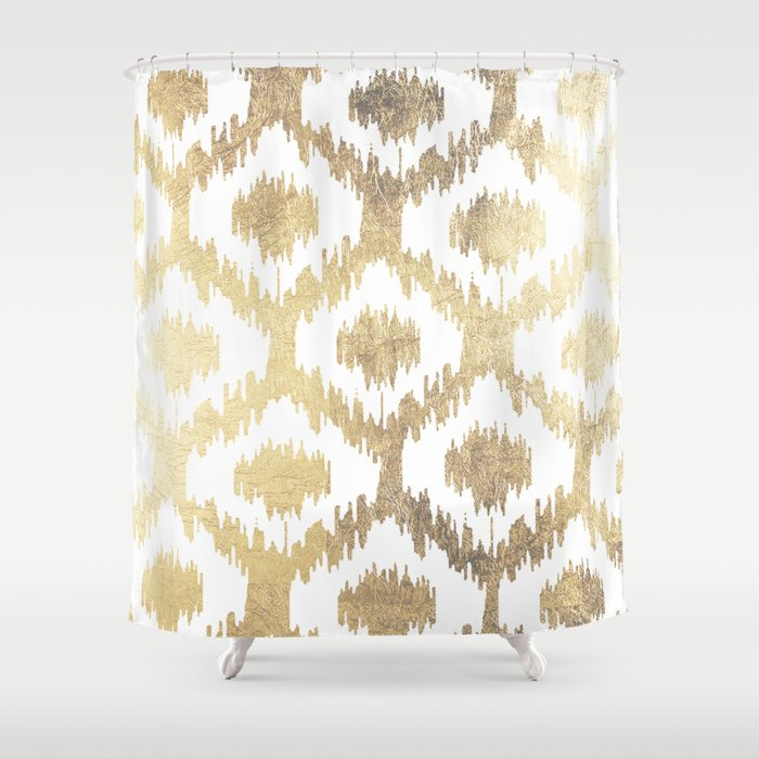 Modern white hand drawn ikat pattern faux gold Shower Curtain