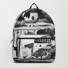 Istanbul Hagia Sophia Turkey Black and White Watercolor Painting Backpack