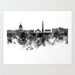 Washington DC skyline in black watercolor on white background  Art Print