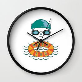 Weekend Swim Cat Wall Clock