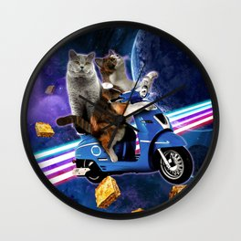 cat scooter travel with lasagne galaxy Wall Clock