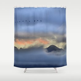 """Sunrise at the mountains"". Birds in the morning. Shower Curtain"