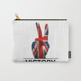 Hand making the V sign united kingdom country flag painted Carry-All Pouch