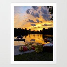 Fiddle Lake Sunset Art Print