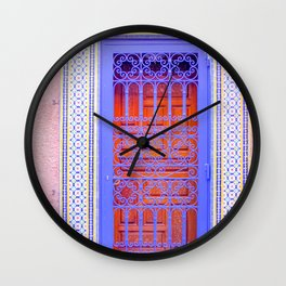 Colorful Moroccan Door in Marrakech Blue and Purple Wall Clock