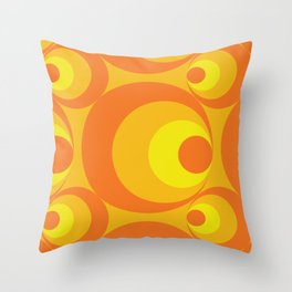 Crazy Orange Circles Throw Pillow