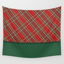 Red plaid pattern and green color blocks Wall Tapestry