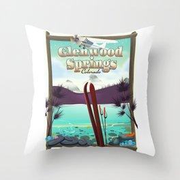 Glenwood Springs Colorado Ski poster Throw Pillow