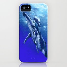 Whale with baby iPhone Case