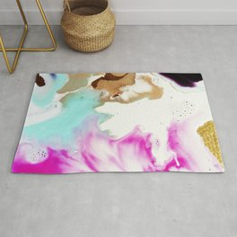 Happiness Ever Abstract Watercolor Painting Rug