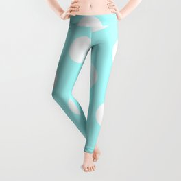 Large Polka Dots - White on Celeste Cyan Leggings
