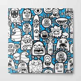 Cute Monster Children Pattern Metal Print
