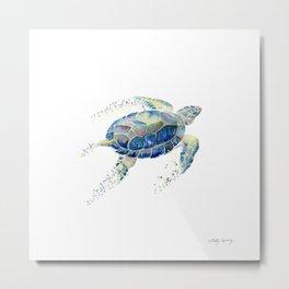 Lone Sea Turtle Watercolor  Metal Print
