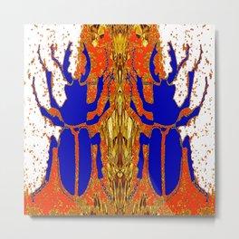 Lapis Blue Beetle on Gold Metal Print
