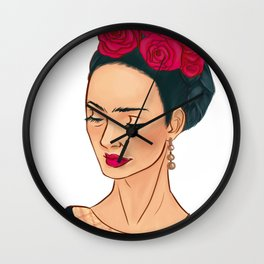 Frida Khalo Illustration by Patricia Falls Wall Clock