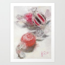 Sweets Still Life Painting Pink and White Art Print