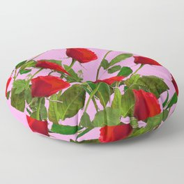 RED LONG STEMMED ROSES ON PINK Floor Pillow