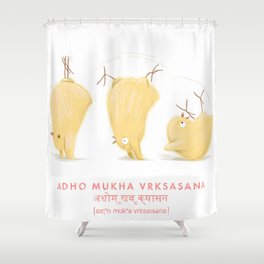 Adho Mukha Vrksasana Chicken Yoga Shower Curtain