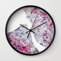 liverpool Wall Clocks featuring Liverpool map by MapMapMaps.Watercolors