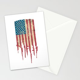 Distressed USA American Flag Made of Guns and Rifles Stationery Cards