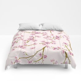 Spring Flowers - Pink Cherry Blossom Pattern Comforters