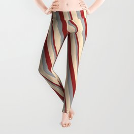 Brown, Dark Grey, and Bisque Colored Lined Pattern Leggings