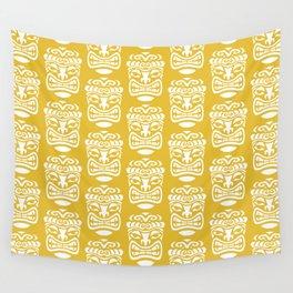 Tiki Pattern Mustard Yellow Wall Tapestry