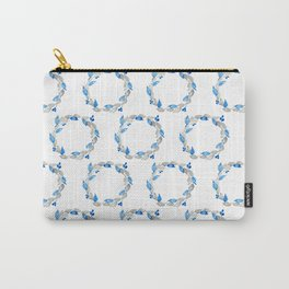 Blue and Gray Watercolor Leaf Wreath Carry-All Pouch