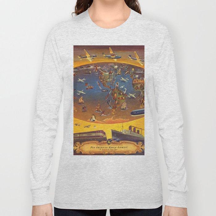 World map wall art 1946 dorm decor mappemonde panam pan america airways  Long Sleeve T-shirt by frenchfineart