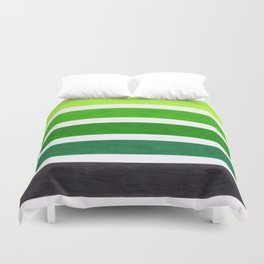 Colorful Green Stripes Duvet Cover