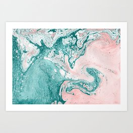 Abstract painting. Modern artwork. Marble effect painting. Mixed turquoise and pink paints. Acrylic paints on canvas. Art Print