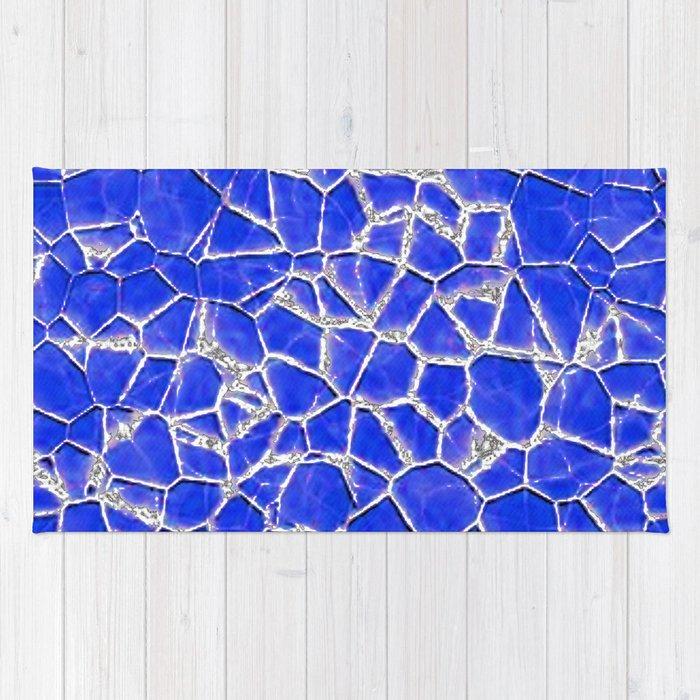 Blue broken glass texture Rug