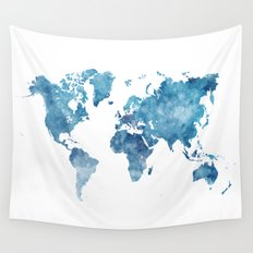 World map in watercolor. Wall Tapestry