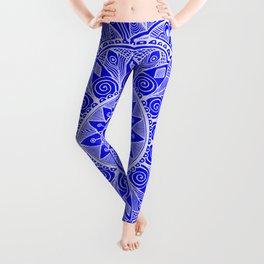 Cobalt Blue and White Mandala 4 Leggings