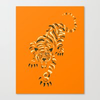 tiger Canvas Prints featuring TIGER by Jazzberry Blue