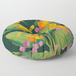 Abstract Floral Evening Floor Pillow
