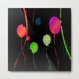 Multi-color Abstract Balloons Design Metal Print