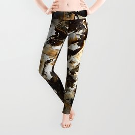 But first coffee | abstract brown acrylic original painting brushstrokes Leggings