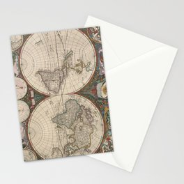 Vintage World Map (1665) 2 Stationery Cards