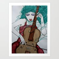 cello Art Prints featuring Cello by LisaMMurphyArt