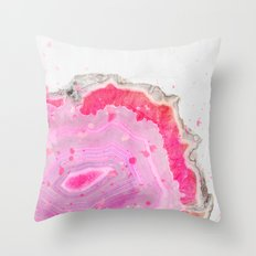 Pink Agate Watercolor Throw Pillow