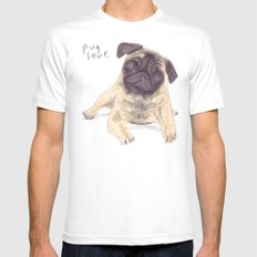 Pug Love Mens Fitted Tee White MEDIUM