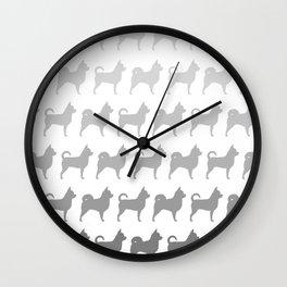 Chihuahua Silhouettes Pattern Wall Clock