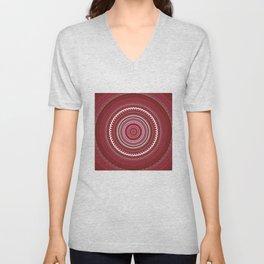 Shades of Red Mauve Mandala Design Unisex V-Neck