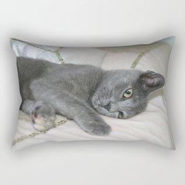 Grey Kitten Relaxed On A Bed  Rectangular Pillow