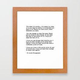 F Scott Fitzgerald quote Framed Art Print