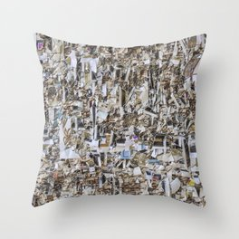 Texture of paper shredded wall Throw Pillow