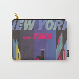 Vintage New York Print Carry-All Pouch